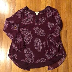 Lucky brand paisley print blouse